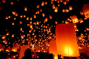 Yee Peng and Loy Krathong Festival in Chiang Mai Thailand