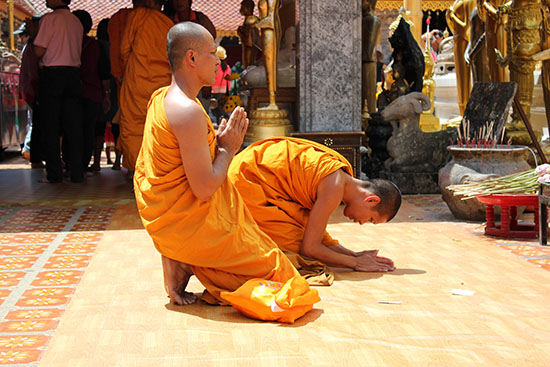 Monks making merit at Wat Phra That Doi Suthep, Chiang Mai.