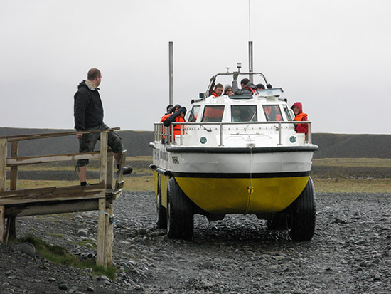 DUK-W amphibious craft at the Jökulsárlon lagoon.