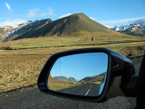 Iceland driving passed hills that are only six months old.