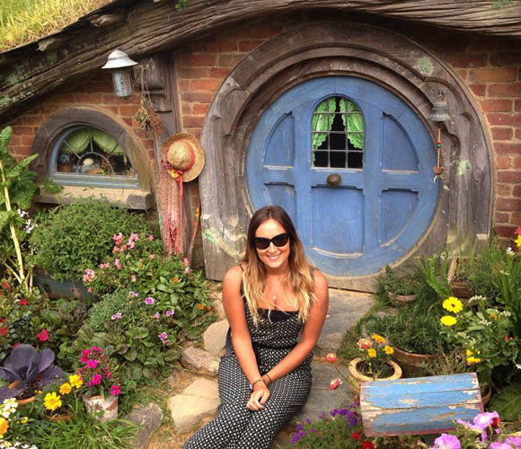 Abigail Walker in Hobbiton, New Zealand